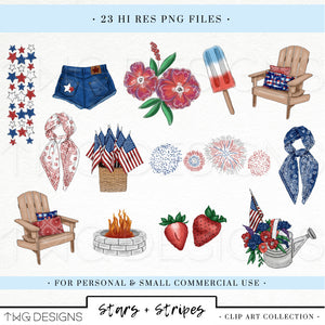 Collections, Stars + Stripes Clip Art Collection - TWG Designs