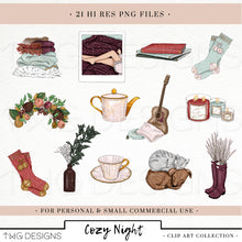 Load image into Gallery viewer, Collections, Cozy Night Clip Art Collection - TWG Designs