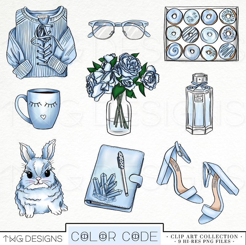 Themed Elements, Powder Blue Clip Art Bundle - TWG Designs