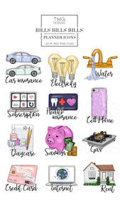 Planner Icons, Bills Bills Bills - To Do Planner Icons - TWG Designs
