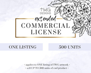Commercial Licenses, Commercial License Add-On (500 units) - TWG Designs