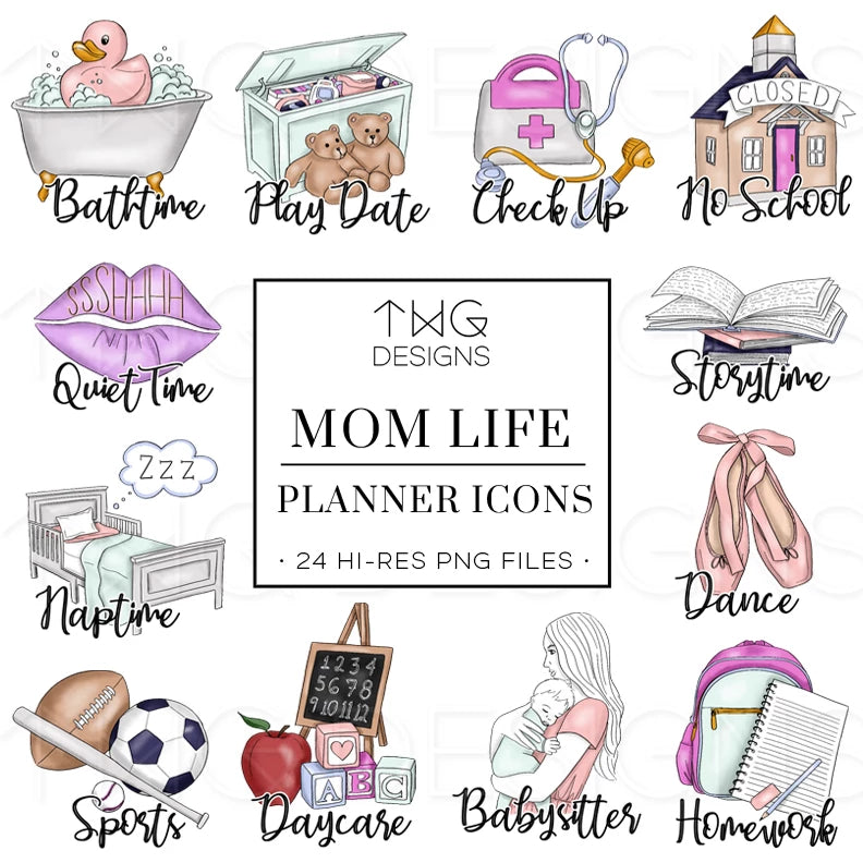 Planner Icons, Mom Life - To Do Planner Icons - TWG Designs