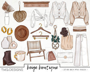 Beige Boutique Clip Art Collection