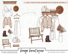 Load image into Gallery viewer, Beige Boutique Clip Art Collection