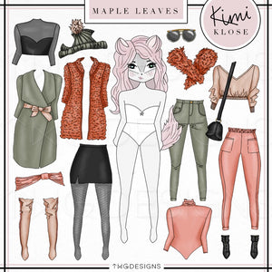 Kimi Klose, Kimi Klose - Digital Paper Doll Bundle (Maple Leaves) - TWG Designs