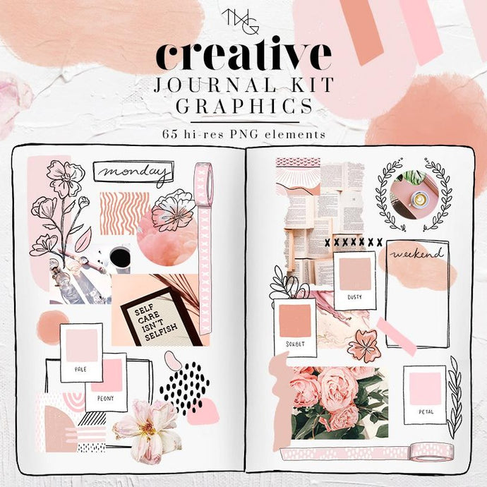 Design Elements, Pink Vibes Creative Journal Kit - Graphics - TWG Designs
