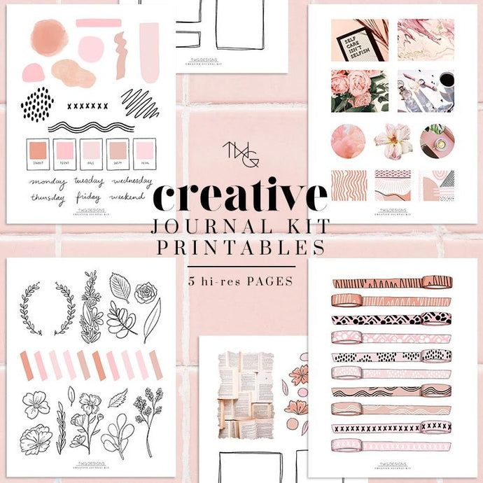 Printables, Pink Vibes Creative Journal Kit - Printables - TWG Designs