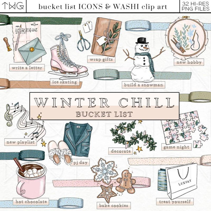 Planner Icons, Winter Chill - Bucket List Icons - TWG Designs