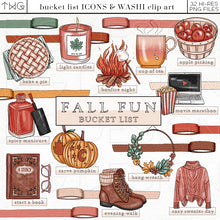 Load image into Gallery viewer, Planner Icons, Fall Fun - Bucket List Icons - TWG Designs