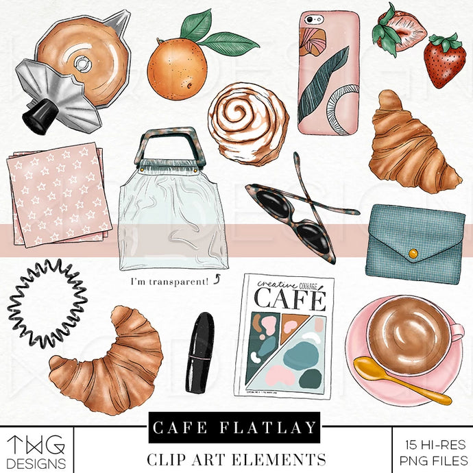 Themed Elements, Cafe Flatlay Clip Art Bundle - TWG Designs