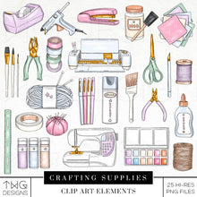 Load image into Gallery viewer, Themed Elements, Crafting Supplies Clip Art Bundle - TWG Designs