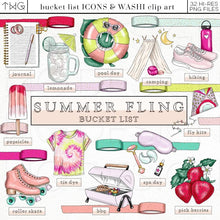 Load image into Gallery viewer, Planner Icons, Summer Fling - Bucket List Icons - TWG Designs