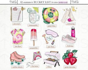 Planner Icons, Summer Fling - Bucket List Icons - TWG Designs