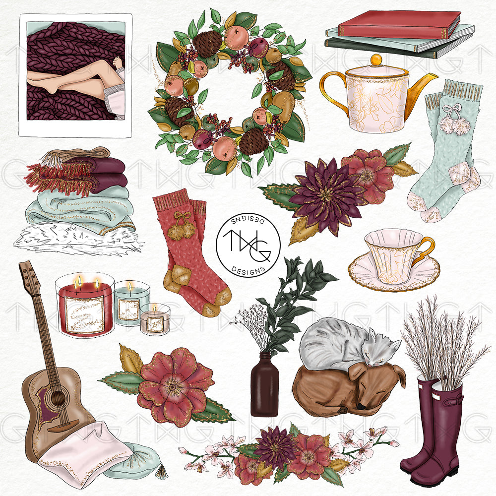 Collections, Cozy Night Clip Art Collection - TWG Designs