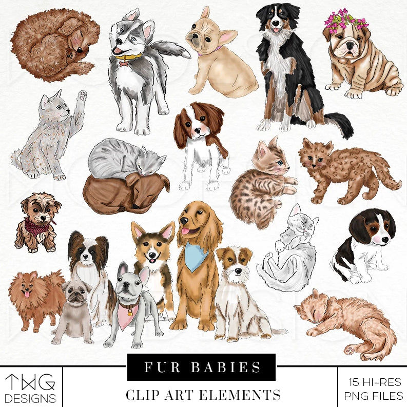 Themed Elements, Fur Babies Clip Art Bundle - TWG Designs