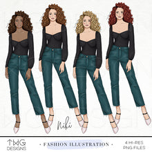 Load image into Gallery viewer, Fashion Illustrations, Niki - Fashion Illustration - TWG Designs