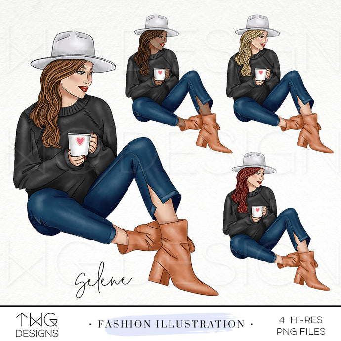 Fashion Illustrations, Selene - Fashion Illustration - TWG Designs