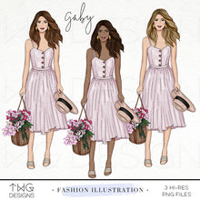 Load image into Gallery viewer, Fashion Illustrations, Gaby - Fashion Illustration - TWG Designs