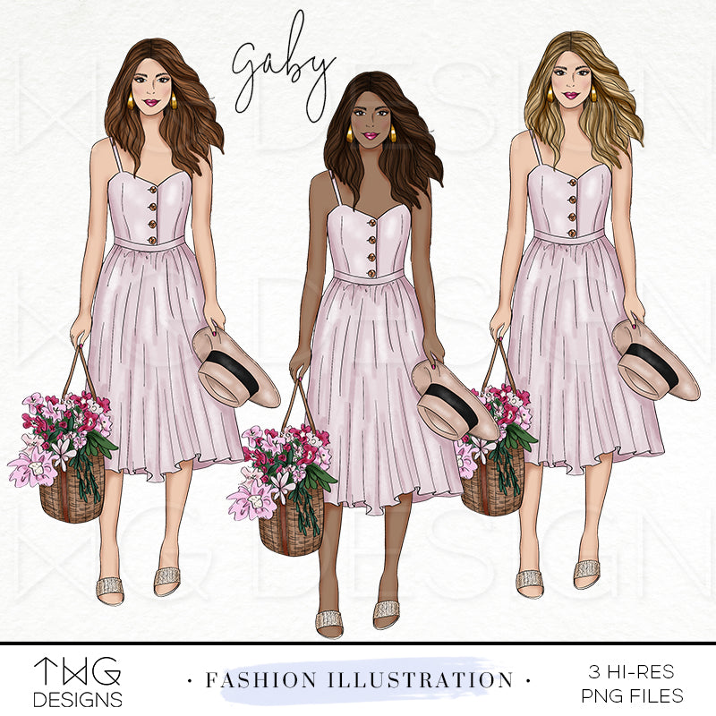 Fashion Illustrations, Gaby - Fashion Illustration - TWG Designs
