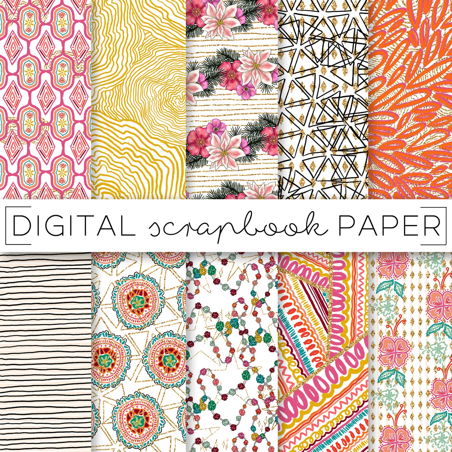 Digital Paper, So Merry Digital Paper Set - TWG Designs