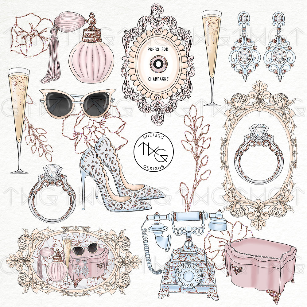 Collections, Vintage Glam Clip Art Collection - TWG Designs