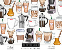 Load image into Gallery viewer, Themed Elements, Coffee Love Clip Art Bundle - TWG Designs