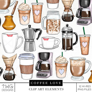 Themed Elements, Coffee Love Clip Art Bundle - TWG Designs