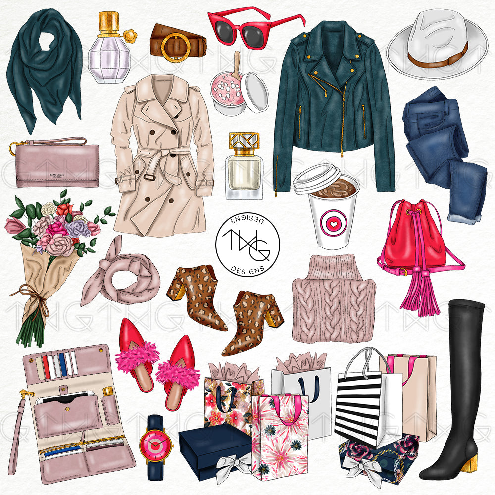 Collections, Fall Fashion Clip Art Collection - TWG Designs
