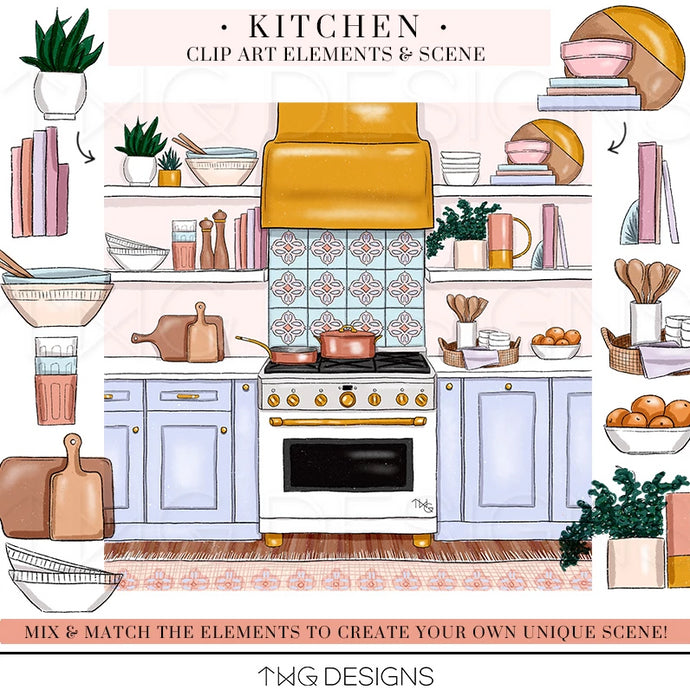 Themed Elements, Kitchen Clip Art Elements - TWG Designs