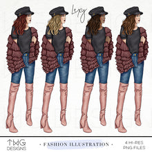 Load image into Gallery viewer, Fashion Illustrations, Lexy - Fashion Illustration - TWG Designs