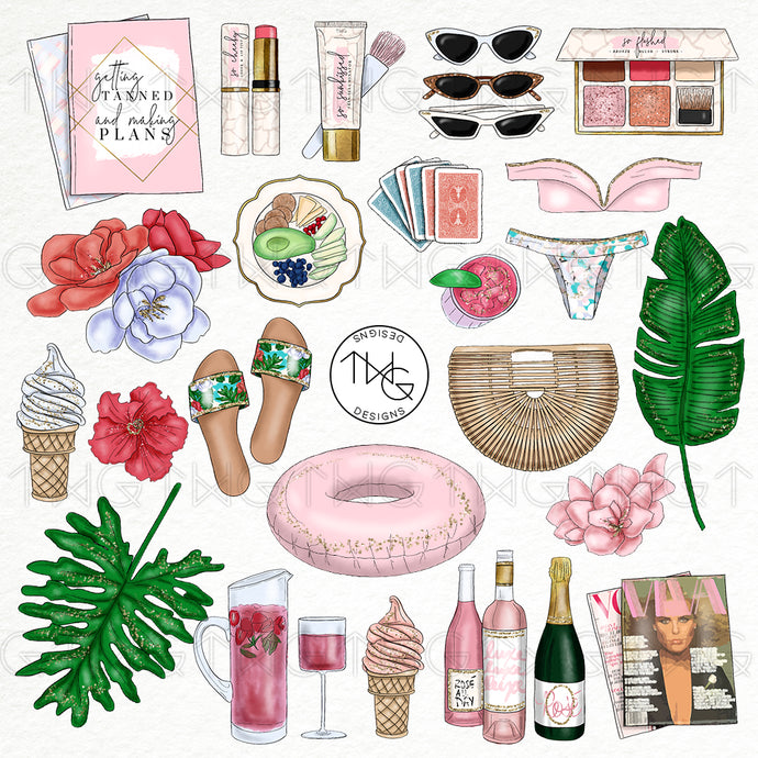 Collections, Poolside Rosé Clip Art Collection - TWG Designs