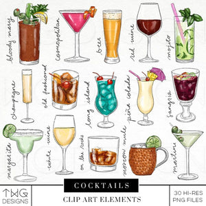 Themed Elements, Cocktails Clip Art Bundle - TWG Designs