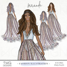 Load image into Gallery viewer, Fashion Illustrations, Miranda - Fashion Illustration - TWG Designs