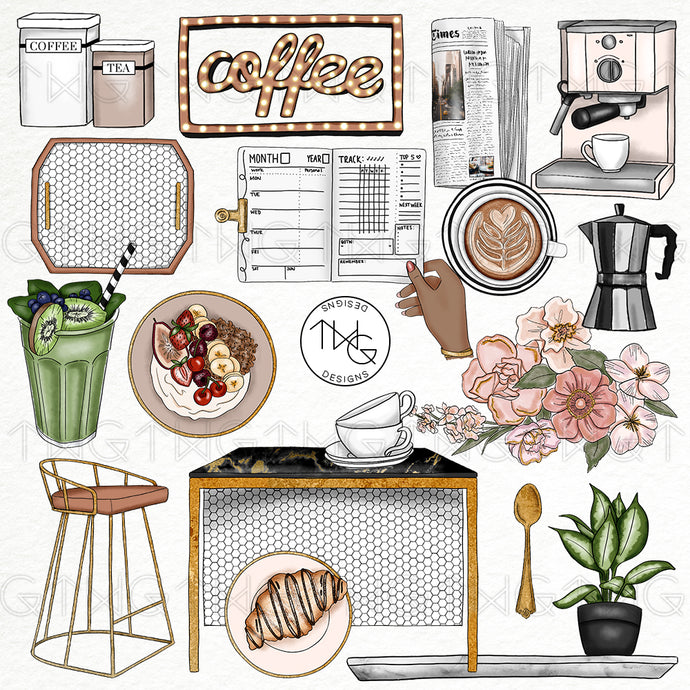 Collections, Cafe Au Lait Clip Art Collection - TWG Designs