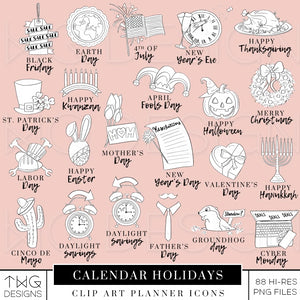 Planner Icons, Calendar Holiday Planner Icons - TWG Designs