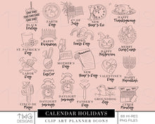 Load image into Gallery viewer, Planner Icons, Calendar Holiday Planner Icons - TWG Designs