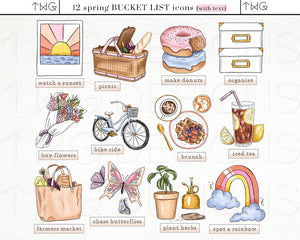 Planner Icons, Spring Joy - Bucket List Icons - TWG Designs