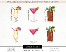 Load image into Gallery viewer, Themed Elements, Cocktails Clip Art Bundle - TWG Designs