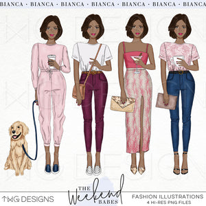 Fashion Illustrations, The Weekend Babes - Fashion Illustrations - Set 2 - TWG Designs