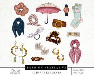 Themed Elements, Fashion Flatlay V2 Clip Art Bundle - TWG Designs