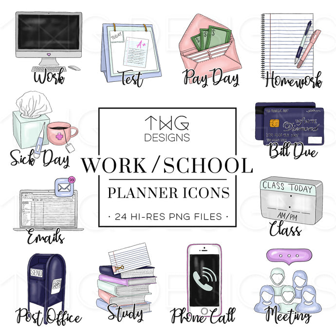 Planner Icons, Work & School - To Do Planner Icons - TWG Designs