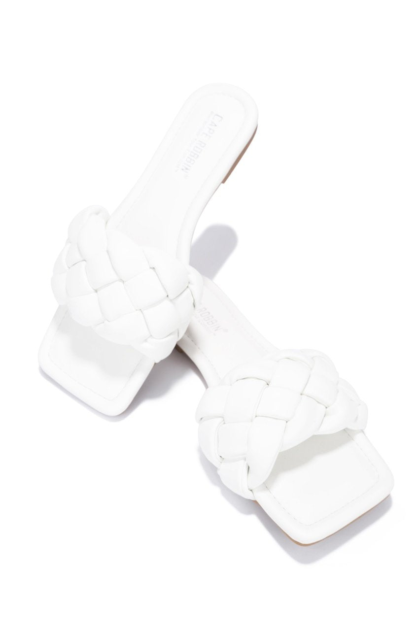 VEGAS TIME FOR A VACATION FLAT SANDALS-WHITE