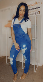Load image into Gallery viewer, Over It Distressed Cargo Denim Overalls