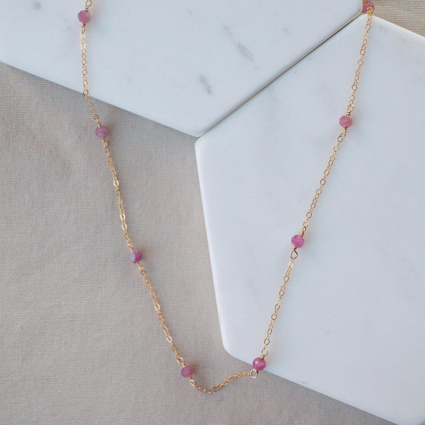 Pink Tourmaline Classic Necklace