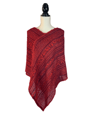 Handwoven Baby Alpaca Red Poncho for women