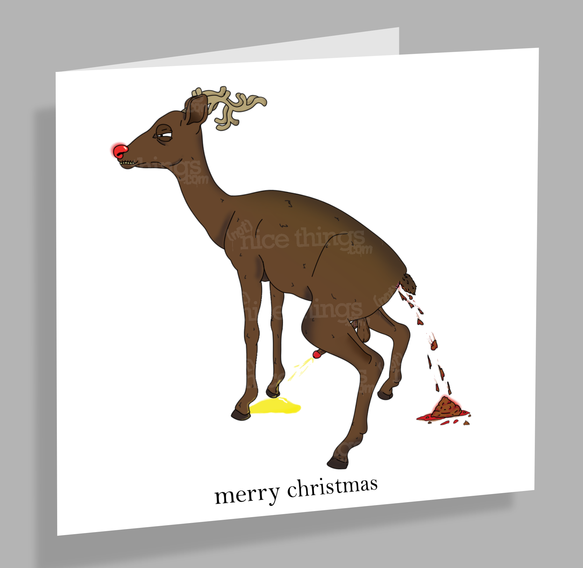 Not Nice Rudolph - Rude, Funny Christmas Card | Dirty Card | Cards for