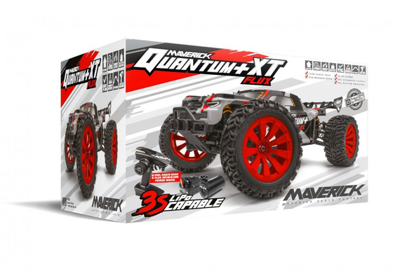 Maverick MV150301 Quantum+ XT Flux 3S Brushless Electric Truggy 1/10 4WD (Red)
