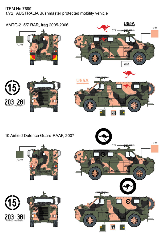 Dragon 7699 1/72 Bushmaster Protected Mobility Vehicle Plastic Model Kit *Aus Decals*