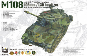 AFV Club AF35108 1/35 105mm/L30 howitze M108 U.S. Self-Propelled Howitze *AUS DECAL*Plastic Model Ki