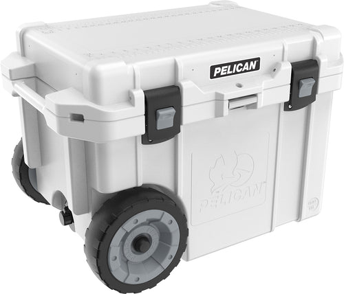 Pelican Elite Wheeled Cooler 45qt White available at Kiigns Hunting.